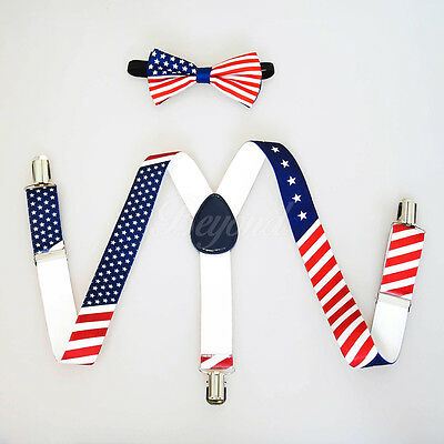 USA Flag Suspender and Bow Tie Set for Baby Toddler Kids Boys Girls (USA Seller)