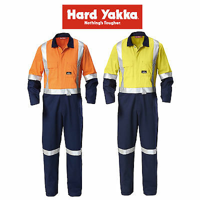 Mens Hard Yakka Hi-Vis 2 Toned Cotton Drill Coverall Overalls Workwear Y00262