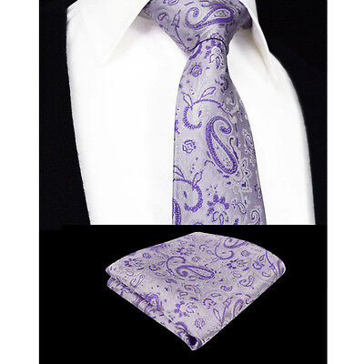 Lilac Purple Mens Tie & Handkerchief Set Silk Floral Pocket Square Napkin Hanky