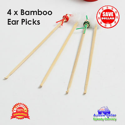 4x Bamboo Ear Wax Removal Cleaner Tool Pick Health Remover Curette Ear Picks