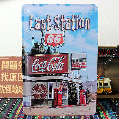 US Route 66 Last GAS Petrol Station Coca Cola Metal Tin Sign Wall Decor Display