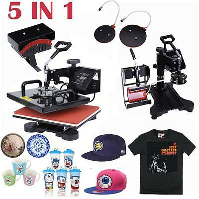 "5 in 1 Combo Heat Press Transfer Sublimation T-Shirt+Mug+Hat Cap+Plate 15""X11.4"""