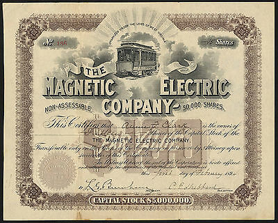 Magnetic Electric Co., $100 Capital stock, 1894, electric tramcar, W Virginia