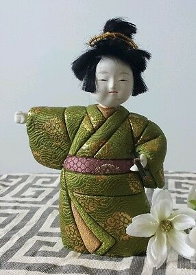 "Vintage Japanese DOLL ...Drummer Boy in Green Kimono 5 1/2"" tall"