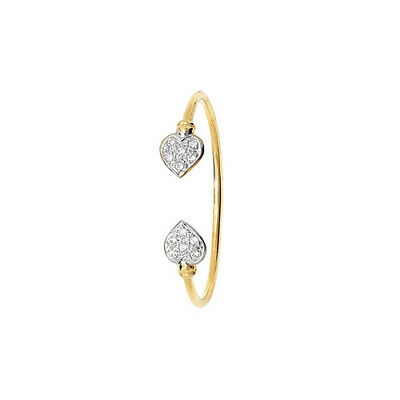 Hallmarked 9ct Gold Christening Baby Torque Bangle Heart Cubic Zirconia 5.5""