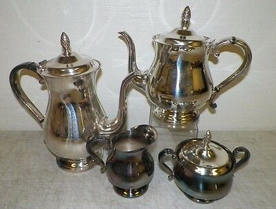 Gorham Newport Silverplate 5 Pc Tea Set Teapot Coffee Creamer Sugar Bowl Good