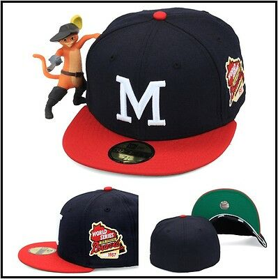 New Era Milwaukee Braves Fitted Hat Cap 1957 World Series Side Patch MLB  59fifty 5aed2fa402ec