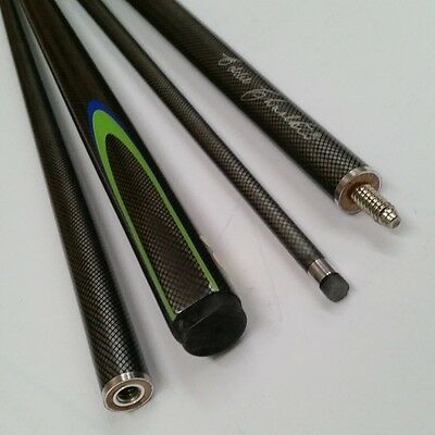 """EC 2 Pce Pool Snooker Billiards 57"""" CUE - Grey with Blue & Lime Green Flame"""