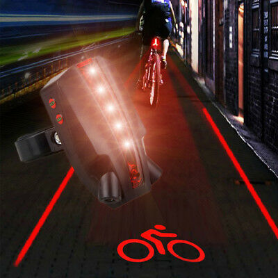 Mountain/Road Bicycle Intelligent Laser Rear Light 5 LED Tail Lamp +2 Laser Beam
