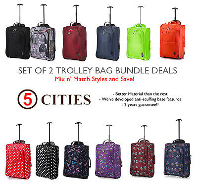 Set of 2/Twin Easyjet Ryanair Carry On Trolley Cabin Bag Hand Luggage Suitcases