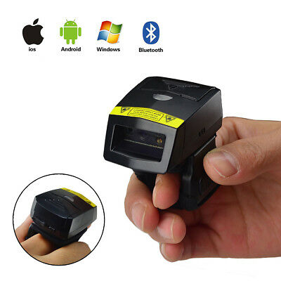 FS02 Android USB Bluethooth Handheld 2D QR Code Barcode Scanner w/Ring Wearable