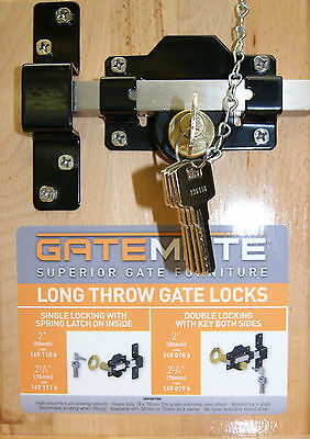 Long Throw Lock Key Lockable From Both Sides, Available For 50mm or 70mm Gates