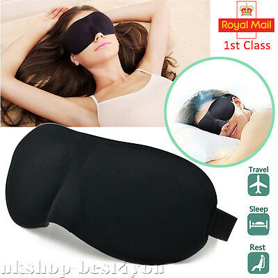 3D Eye Mask Soft Sponge Cover Blindfold Travel Night Sleep Rest Shade Blinder UK