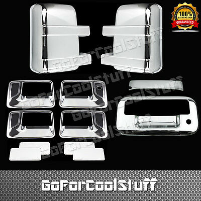 For Ford F-250/F-350 2008-14 Chrome Mirror, Door Handle & Tailgate Cover W/O Cam