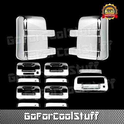 For Ford F-250/F-350 2008-14 Chrome Mirror, Door Handle Tailgate Cover W/O Light