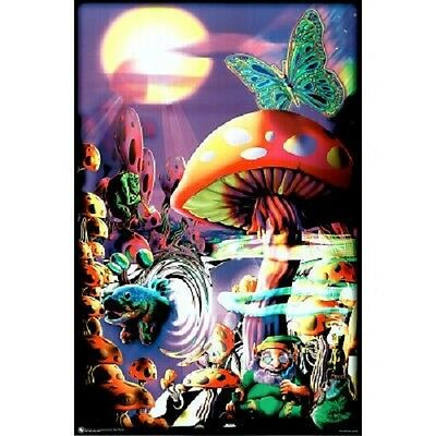 Blacklight Mushrooms Art Poster Print 24x36 nature in acid wonderland lost magic