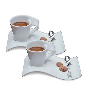 Villeroy & Boch New Wave Caffe Espresso Cups, Saucers and Spoons Set BRAND NEW!!