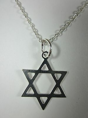 "Silver Plated Magen David Star of David Pendant Necklace 20"" Chain"