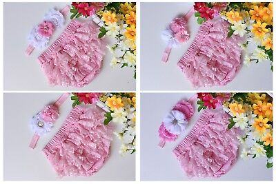 Baby Ruffle Bloomers Set Girl  Flower Headband Cotton Lace Newborn Photo Prop