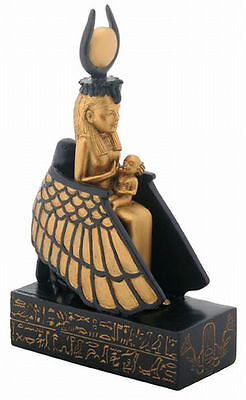 Greek Winged Isis Nursing Horus Ancient Egyptian Goddess Protection Statue #8260