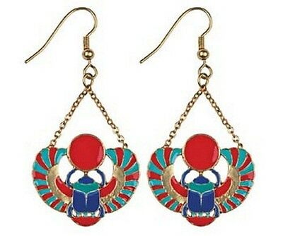 Egyptian Earrings Winged Scarab Beetle Design with Colorful Red Blue Inlay #2441