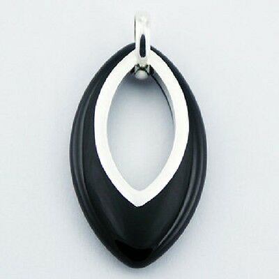 Sterling silver pendant marquise cut black agate gemstone 54mm ht handmade new