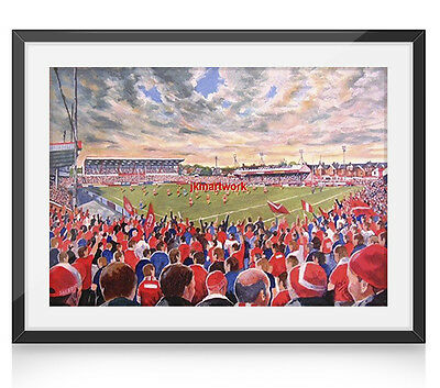 The Willows Stadium Art A4 Framed Print - Salford RLFC