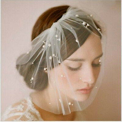 New White/Ivory birdcage veil pearls Bridal short veil with comb Wedding veil