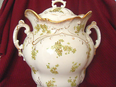 Beautiful Large Antique Baroque Porcelain Tureen -Green Floral Design  Gold Trim