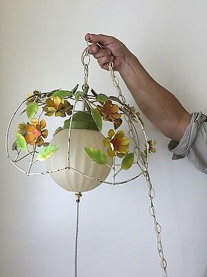 Vintage 60s New Orleans Painted Tole Floral Swag Light lamp with chain WORKS