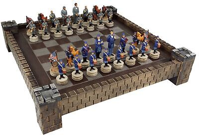 "*** NEW *** American US Civil War North vs South chess set W/ 17"" CASTLE Board"