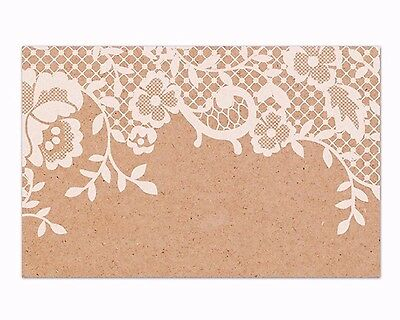50 Kraft Lace Paper Cards Wedding Craft Tags Vintage Name Place Thank You Cards