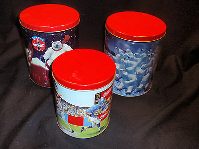 New! / 3 Lot /  Coca Cola / Coke Collectable Tin Canisters / Cans / Must See!!