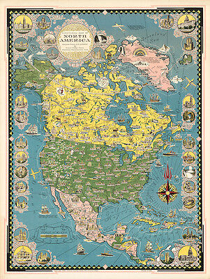 A Pictorial Map of North America 1945 75cm x 56.5cm High Quality Art Print
