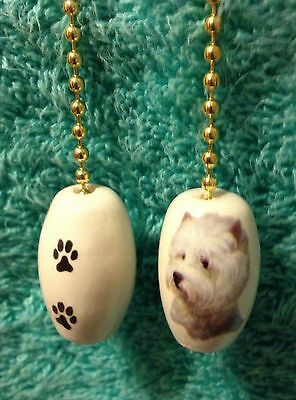 """One Westie Dog Fan Pull With Paw Prints On The Back 1"""""""