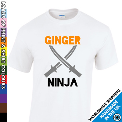 Childrens Ginger Ninja Pride T Shirt Kids Orange Tshirt Boys Girls Festival Red