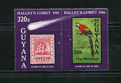Guyana 1987 #1822  CAPEX birds stamps  comet space Halley   pair  MNH   F557
