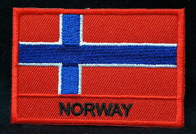 "NORWAY FLAG EMBLEM PATCH SEW ON EASY TO USE 2""x3"""