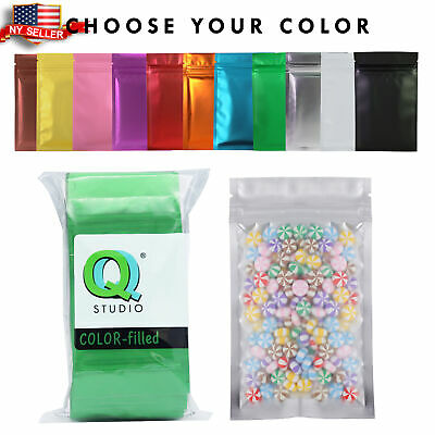Many Colors for 100 Clear & Colored Foil Mylar Zip Lock Bags 8.5x13cm (~3x5in)