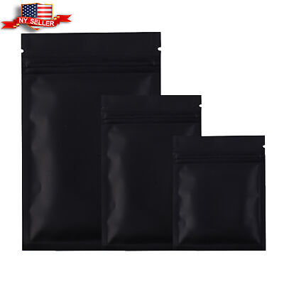 Many Different Sizes for 100 Flat Black Metallic Mylar Zip Lock Bags