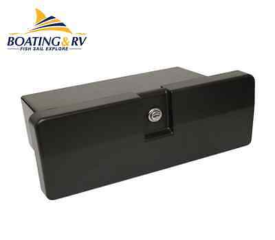 Marine Glove Box - Black Plastic Storage Box With Key Lock for Boat Yacht