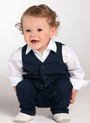Baby Boys Gentlemen Wedding Formal Occasion Christening Tuxedo Suit 3pcs Outfit