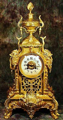GORGEOUS MARTI & Cie VERY LARGE FRENCH ANTIQUE GILT SOLID BRONZE CLOCK H: 23""