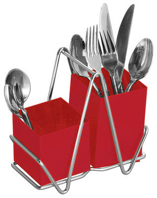 Premier Housewares Red Metal Cutlery Holder Caddy Jar Pot Kitchen Tidy Rack New