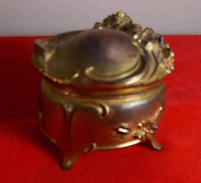 Victorian Art Nouveau Mini Jewelry Trinket Casket-Brass Colored Smelter Mini