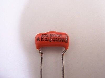 Sprague ORANGE DROP 225PW Guitar Tone Capacitor .033uf MFD 10% 100 V Volt 100VDC
