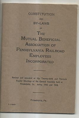 1949 Constitution of Associaion of PRR Pennsylvania Railroad Employees Booklet