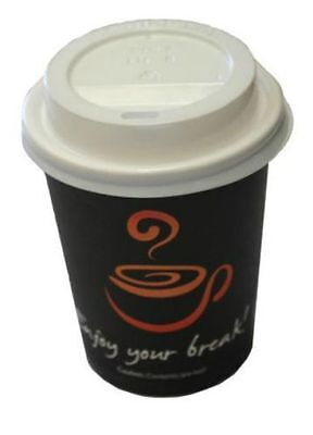 100 Sets x 12oz Single Wall Coffee Cups & Lids 350ml Black Print Disposable New
