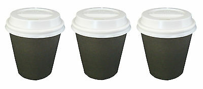 150 Sets x 6oz BLACK Single Wall Paper Coffee Cups And Lids 177ml Disposable