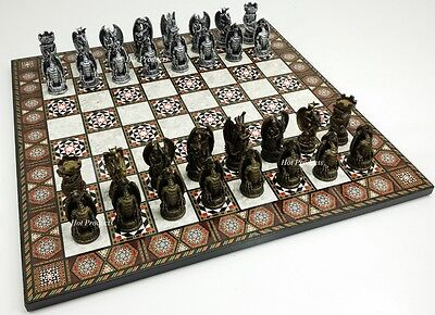 GOTHIC DRAGON FANTASY MEDIEVAL TIMES CHESS Set  W/ MOSAIC DESIGN BOARD 17""